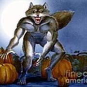 Werewolf With Pumpkins Art Print