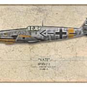 Werner Molders Messerschmitt Bf-109 - Map Background Art Print by Craig Tinder