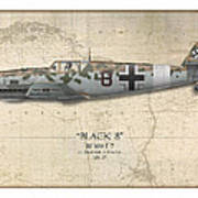 Werner Schroer Messerschmitt Bf-109 - Map Background Art Print