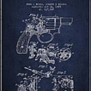Wesson Hobbs Revolver Patent Drawing From 1899 - Blue Art Print