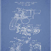 Wesson Hobbs Revolver Patent Drawing From 1899 - Light Blue Art Print