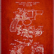 Wesson Hobbs Revolver Patent Drawing From 1899 - Red Art Print
