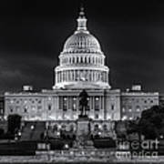 West Front Of The National Capitol Bw Art Print