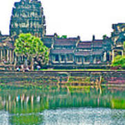 West Gallery From Across Moat In Angkor Wat In Angkor Wat Archeological Park Near Siem Reap-cambodia Art Print