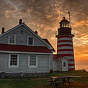 West Quoddy Light At Sunrise Art Print