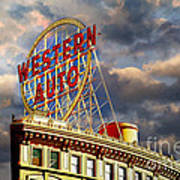 Western Auto Sign Kansas City Chiefs Colors Metal Print By Andee Design