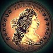Western Draped Bust Liberty Dollar Art Print