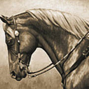 Western Horse Painting In Sepia Art Print