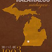 Western Michigan University Broncos Kalamazoo Mi College Town State Map Poster Series No 126 Art Print