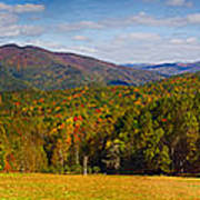 Western North Carolina Horses And Mountains Panorama Art Print