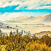 Western Panorama From Mountain At Joshua Tree National Park Art Print