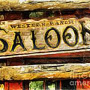 Western Saloon Sign - Drawing Art Print