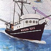 Western Seas Trawl Fishing Boat Nautical Chart Art Art Print