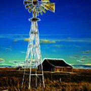Western Windmill Print by Steve McKinzie