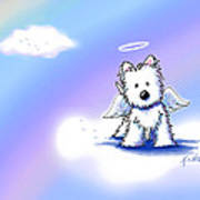Westie Angel At Rainbow Bridge Art Print by Kim Niles