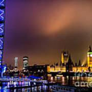 Westminster And Eye Night Glow Art Print