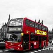 Westminster And Red Bus Art Print