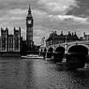 Westminster Pano Bw Art Print