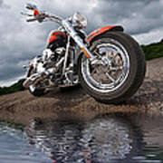 Wet And Wild - Harley Screamin' Eagle Reflection Art Print
