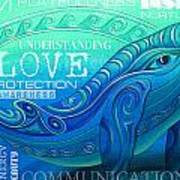 Whale Totem Wordart Art Print