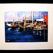 Wharf Scene Art Print