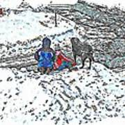What Fascinates Children And Dogs -  Snow Day - Winter Art Print