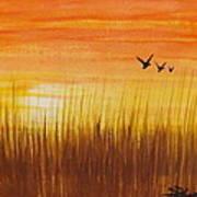 Wheatfield At Sunset Art Print