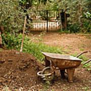 Wheel Barrow Next To Soil Heap Art Print