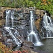 When Light And Water Falls-2a Three Cascades Over Blackwater Falls State Park Wv Autumn Mid-morning Art Print
