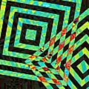 When Squares  Merge Green Art Print