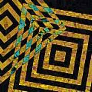 When Squares Merge Yellow Art Print