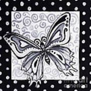 Whimsical Black And White Butterfly Original Painting Decorative Contemporary Art By Madart Studios Art Print