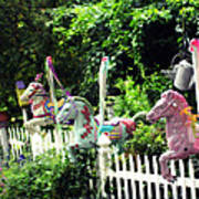 Whimsical Carousel Horse Fence Art Print
