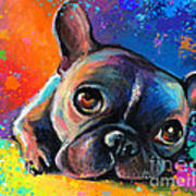 Whimsical Colorful French Bulldog  Art Print