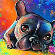Whimsical Colorful French Bulldog  Art Print by Svetlana Novikova