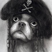 Whimsical Funny French Bulldog Pirate  Art Print