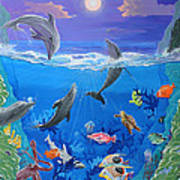 Whimsical Original Painting Undersea World Tropical Sea Life Art By Madart Art Print