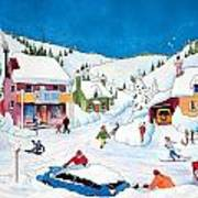 Whimsical Winter Village Art Print