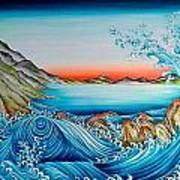 Whirlpool And Rocks Art Print