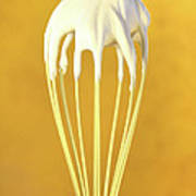 Whisk With Whip Cream On Top Art Print by Sandra Cunningham