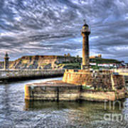 Whitby Harbour On The North Yorkshire Coast Art Print
