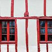 White And Red Half-timbered House Detail Art Print