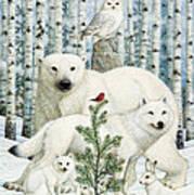 White Animals Red Bird Art Print