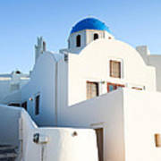 White Buildings And Blue Church In Oia Santorini Greece Art Print by Matteo Colombo