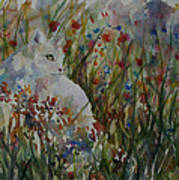 White Cat In Flowers Art Print