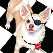 White Chihuahua - Pistachio Art Print
