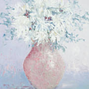 White Chrysanthemums Art Print by Jan Matson