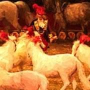White Circus Ponies Art Print