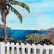 White Fence At English Harbour Antigua West Indies Art Print