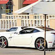 White Ferrari At The Store Art Print